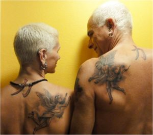 парное тату на плече