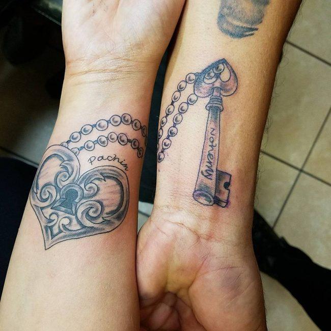 тату замок и ключ парные красивые