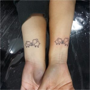 тату для влюбленных пар слоники