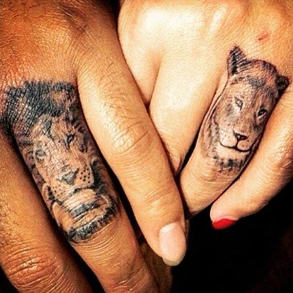 парные тату львы