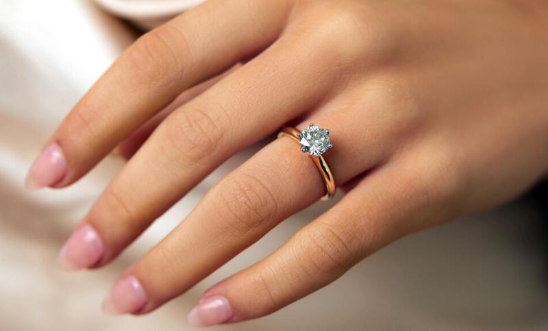 обручальное кольцо на пальце красивой девушки